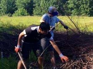 Bhavya and Huston sorting sticks for nest building