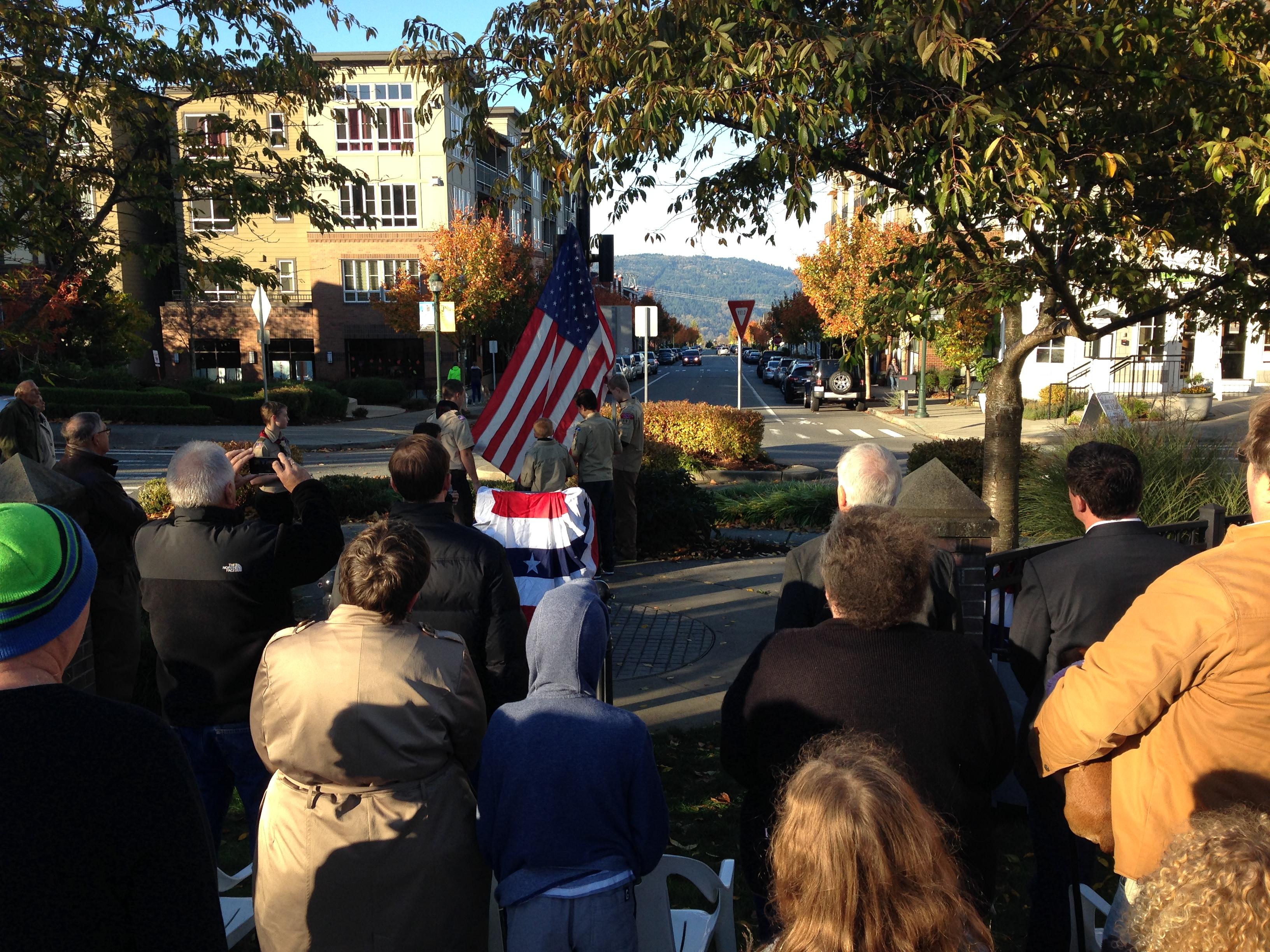 Veterans Day 2014 Raising Flag