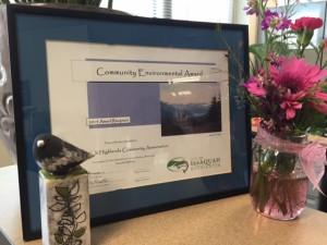 001 new IHCA award May 2015 trophy and bird
