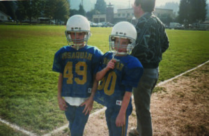 Football friends Clay Ishamael #49 and Nathan Perea #80.