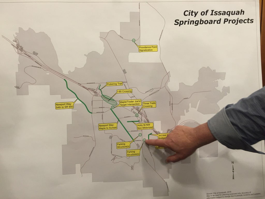"""Map showing locations of the eleven """"springboard"""" projects the Traffic Task Force is considering."""