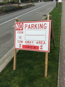 IHCA No Parking for landscaping