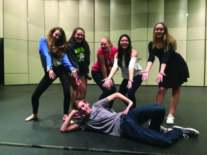 Indie Cowan, Hailey Palm, Alaina Dean, Marissa Conter, Kelly Hodder, and Sam Leon goofing around at rehearsal for Joseph and the Amazing Technicolor Dreamcoat.