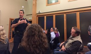 Ryan Smith, IPD Community Resource Officer, answers questions from the audience at Blakely Hall on Thursday, November 3, 2016.