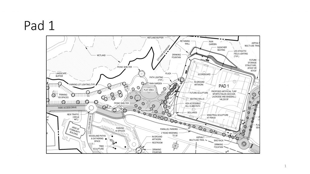 Central Park Pad 1 approved improvements. Current features shown in gray.
