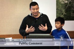 "Peter Kim and son, Issaquah Highlands residents living on 24th Ave NE, voiced overall support of the project, but were ""concerned about road safety"" and pointed out that ""LED is a big concern with light pollution."""