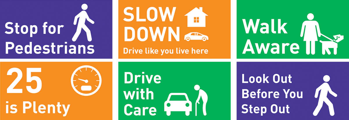 Issaquah Highlands Drive with Care, Walk Aware signage