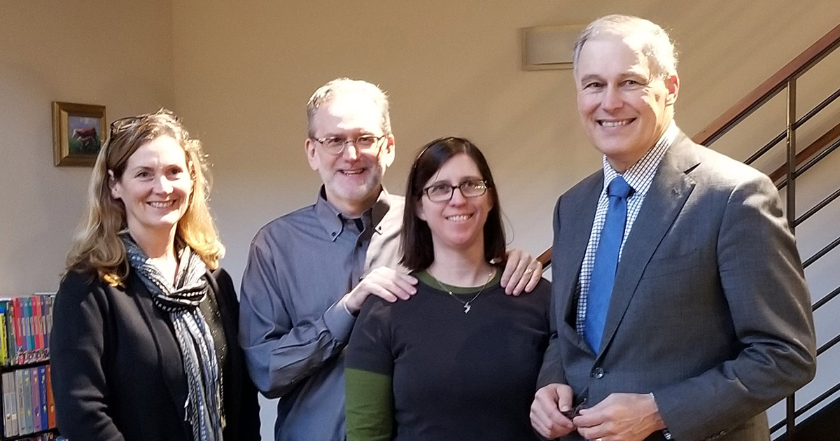 Mayor Mary Lou Pauly, Bryan Bell, Karin Weekly, Governor Jay Inslee zHomes