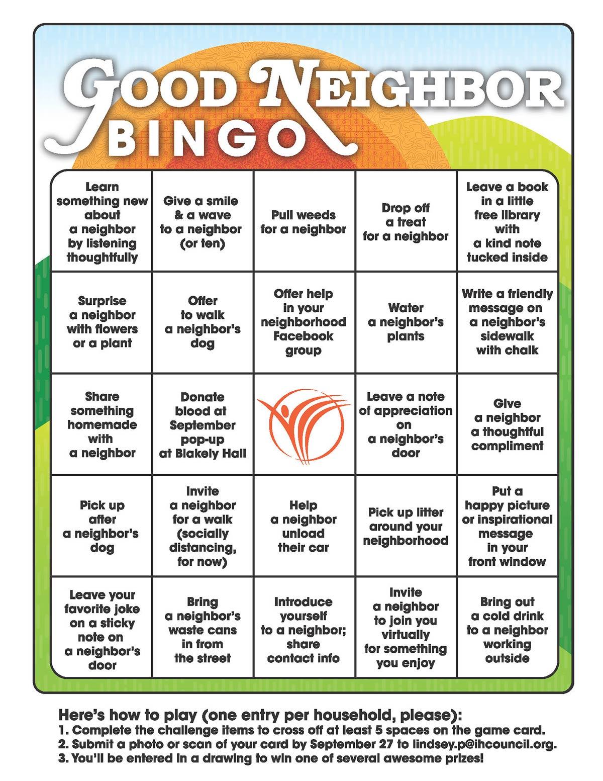 Good Neighbor Bingo Card