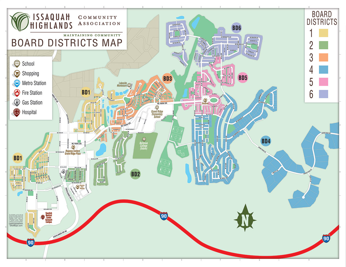 Issaquah Highlands Community Association Board District Map