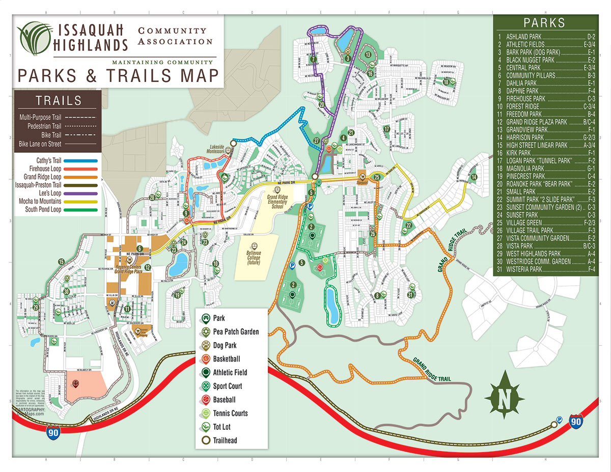 Issaquah Highlands Parks and Trails Map