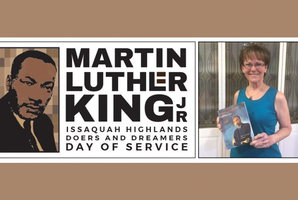 Kathy Lambert with her book on Rev. Dr. Martin Luther King Jr.