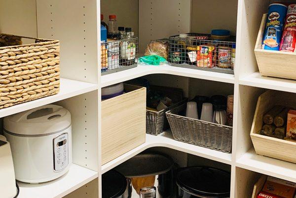 organized pantry baskets
