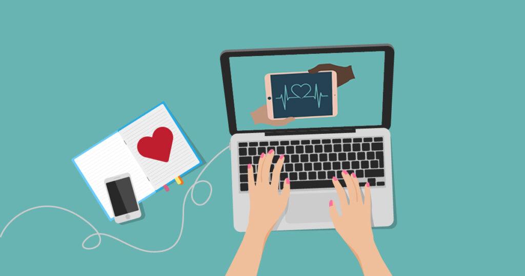 Volunteer virtually laptop cellphone
